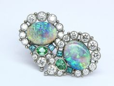 Platinum 'Peacock' Earring tops with Opal, Paraiba and Diamonds by Featherstone Design can be paired with different dangles