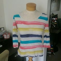 Lucky water color top Excellent condition!  No holes.  No stains. No defects on this shirt (pic 3) was taken to show this is part of the look.  22 1/2 inches from top of blouse to hem. Fits up to medium. Single item offers thru offerctsb only/ bundles 15% off ❌No trades ❌No other sites (600) Lucky Brand Tops