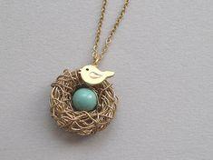 wire neckless bird nest | Bird nest necklace, gold wire wrapped nest, baby bird charm, swarovski ...