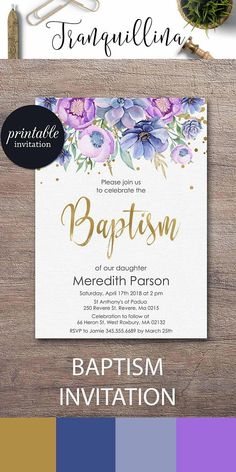 Christening Invitation PRINTABLE Baptism Invitation Purple Floral Baptism Invites, Gender neutral baptism party ideas #boy #girl #baptism #party