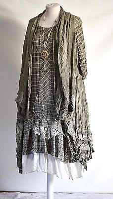 GERMAN ZEDD.PLUS quirky/lagenlook TAUPE check RUFFLE FRILL dress & jacket M/L