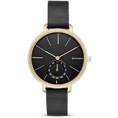 Skagen Hagen Leather Watch, 34mm ($185) ❤ liked on Polyvore featuring jewelry, watches, black, skagen wrist watch, black watches, skagen, leather watches and kohl jewelry
