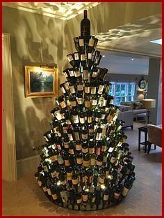 Christmas Tree Ideas - Oh so merry! Wine Bottle Tree, Cooking With Sin Creative Christmas Trees, Diy Christmas Tree, Xmas Tree, Christmas Decorations, Holiday Decor, Merry Christmas, Christmas Time, Christmas Feeling, Natural Christmas