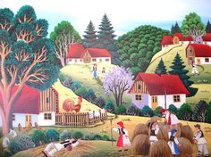 Mariana Mihut Naive Art, Folk Art, Art Gallery, Artist, Painting, November, Illustrations, Summer, Mariana