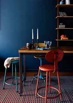 [ Paint Color Portfolio Dark Blue Dining Rooms Apartment Therapy Navy Living Colors Dressing ] - Best Free Home Design Idea & Inspiration Royal Blue Walls, Navy Walls, Dark Blue Dining Room, Living Colors, Best Paint Colors, Dining Room Design, Dining Rooms, Dining Table, Blue Rooms