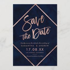 Rose Gold typography on navy blue watercolor and faux rose gold geometric stripes chic save the date wedding , perfect for elegant, stylish wedding, Size: x Color: Semi-Gloss. Navy And Copper, Teal And Gold, Navy Blue, Copper Wedding, Blue Wedding, Geometric Cake, Sarah Day, Gold Stripes, Wedding Save The Dates