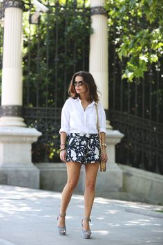 Zara shirt and shorts, Collage Vintage X Krack wedges, Rebecca Minkoff bag