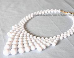 New- Sale-White- Bead necklace, Bubble Necklace, Bib necklace, Bubble Statement Necklace - Gold Tone Chain