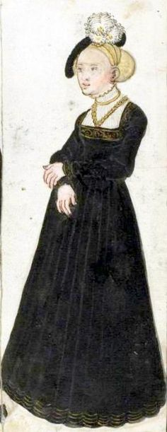 16th Century Illustration  I love how this is super simple with just the trim at neck and on the neckline...I also love the chemise. Perhaps the black and gold gown could be similar to this?