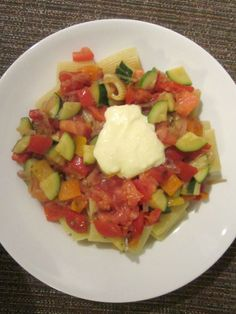 Rigatoni with Peppers, Zucchini and Garlic Mayonnaise.