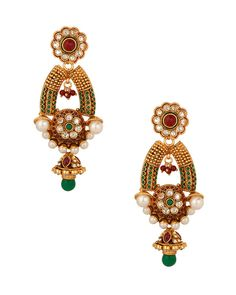 Gold Plated Pearl Encrusted Earring Set With Stupendous Design