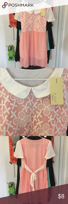 Peter Pan collar dress Light pink and white lace dress. Ties in back. Have slip underneath. NEW with tags. Size small but might fit medium. Juniors sizes! Dresses