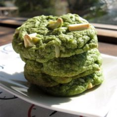 Green Tea & White Chocolate Chip Cookies -- would be fun for St. Patrick's Day