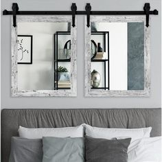 Gracie Oaks 3 Piece Schlueter Accent Mirror Set Size: H x W, Finish: Weathered White Unique Mirrors, Cool Mirrors, Decorative Mirrors, Beautiful Mirrors, Vanity Wall Mirror, Mirror Set, Bathroom Mirrors, Mirror Ideas, Master Bathroom