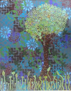 This whimsical tree has the sense of being near a wall that is overrun with flowering vines and is falling down. $93, 16x20 inches.