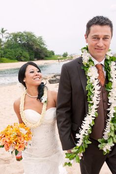 Bride and groom lei's