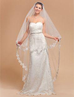 Elegante de uma camada véu de noiva Valsa com laço de Borda ... – BRL R$ 77,14