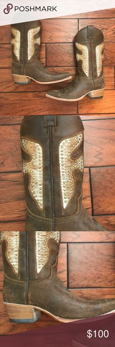 """Frye Studded Cowboy Boots Daisy Dukes Size 8 Excellent condition. Boots have """"natural patina"""" inside which happens when is introduced to our natural oils. Totally normal for boots like this. Brown color goes with anything! Size 8. Heel is approximately 1 3/4"""" Frye Shoes Heeled Boots"""