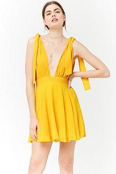 5913a5cbf7 Plunging Self-Tie Chiffon Dress Forever 21 Dresses