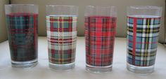 "Ralph Lauren Mixed Tartan Plaids 4 -12 oz ""Juice"" Glasses Boxed Signed #RalphLauren"