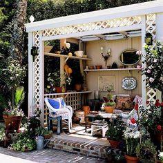 Shabby Chic Outdoor Patio Gazebo - easier than a pergola? Outdoor Rooms, Outdoor Gardens, Outdoor Living, Outdoor Decor, Lattice Wall, Iron Coffee Table, Decoration Inspiration, Decor Ideas, Room To Grow