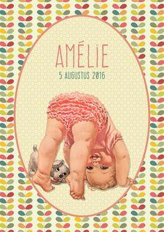 Geboortekaartje Amélie - voorkant - Pimpelpluis - https://www.facebook.com/pages/Pimpelpluis/188675421305550?ref=hl (# meisje - retro - vintage - lief - vlagjes - blaadjes - baby - kleurrijk - origineel)