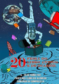 Cartel de la 20 FERIA DEL LIBRO ANTIGUO Y DE OCASIÓN - GALICIA. Autor: PACHU M. TORRES.