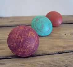 Set of Three Distressed Wood Knobs  Wooden by ElizabethanFolkArt