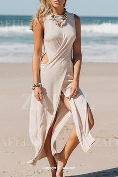 Shop Apricot Sleeveless Floaty Cut Out Maxi Dress online. SheIn offers Apricot Sleeveless Floaty Cut Out Maxi Dress & more to fit your fashionable needs. White Maxi Dresses, Maxi Wrap Dress, Tank Dress, White Dress, Pretty Outfits, Cute Outfits, Summer Outfits, Sabo Skirt, Latest Dress