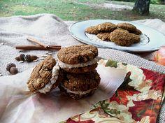 Pumpkin spice oatmeal cookie with cashew cream cheese, vegan, gluten free, no refined sugar.  Will omit coconut oil