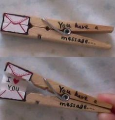 Clothespin message - 26 DIY Valentine Gifts for Him