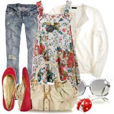 I'm thinking I need the shirt, shoes, jeans & little lady bug thingy :)