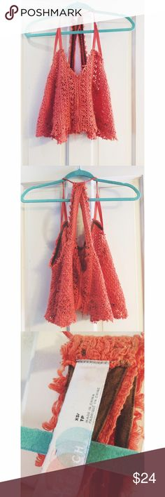 Free People Beach Knit Crop Top FP beachwear. Blood orange. Worn only a handful of times. I have posted a picture of me wearing it, to show how it fits. Free People Tops Crop Tops