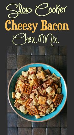 Slow Cooker Cheesy Bacon Chex Mix - I must have died and gone to heaven.