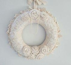 Shabby Chic Wall Decor burlap and lace , year round wreath , shabby chic wall decor