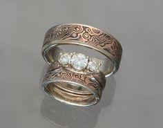womens wedding ring set | ... Wedding/Engagement Rings :: rose_shakudo_wedding_set_moissanite_2_001