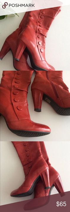 Miz Mooz Mid-Calf Skin Leather Boots Red Size 8.5 Miz Mooz mid-call skin super soft leather boots. Beautiful deep red color. Great condition a bit or wear shown in photo of toes. Size 8.5 Miz Mooz Shoes Heeled Boots