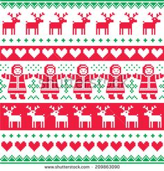 Christmas knitted seamless pattern with town houses, and ...