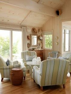 Sarah Richardson Design - Sarah's Cottage/Summer House (Dining Room and Lounge) Family Room, Home, Beach House Decor, Summer House, Cottage Decor, Beach Cottage Style, Sarah Richardson Design, Cottage Living Rooms, Cottage Living