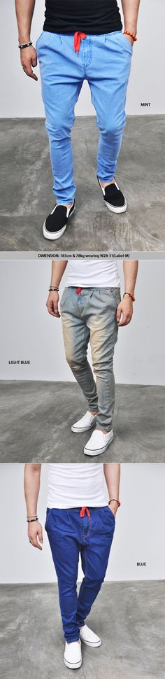 Bottoms :: Jeans :: Span Denim Drawcord Baggy Sweatpants-Jeans 83 - Mens Fashion Clothing For An Attractive Guy Look