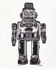Robot I Linocut Eric Rewitzer 3 Fish, Robot, Studios, Darth Vader, Printing, Posters, Artists, Black And White, Art Prints