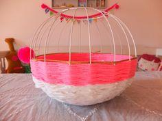 Lampenschirm Korb mit Bettlaken / Lampshade basket with bed linen / Upcycling