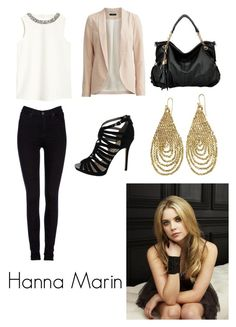 """Hanna Marin PLL"" by emmaluvsdance on Polyvore featuring Lee, VILA, Sam Edelman and Ellen Crawford Designs"