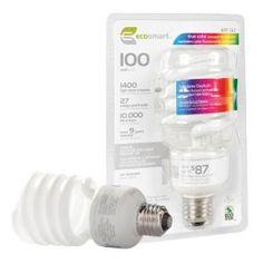 EcoSmart 27-Watt (100W) Full Spectrum Craft CFL Light Bulb-ES5M827FS at The Home Depot $8.97 / each