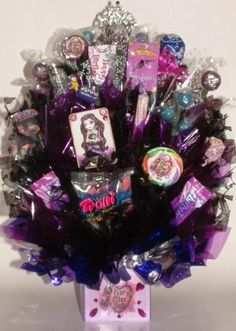 EVER AFTER High or MONSTER High Candy Bouquet Centerpiece created with Lots of Edible Guest Party Favors to Pass Out! on Etsy, $39.00