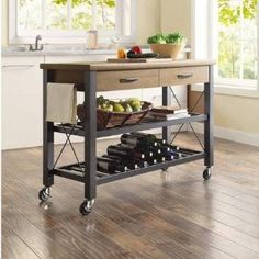 Amazon.com - Generic Whalen Santa Fe Kitchen Multi-functional Cart with Metal Shelves with Wine Rack, Rustic Brown - Serving Carts
