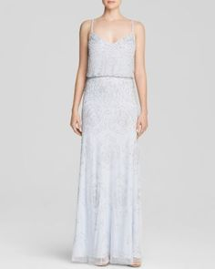 Adrianna Papell Sleeveless Rose Beaded Blouson Gown - Bloomingdale's Exclusive | Bloomingdale's