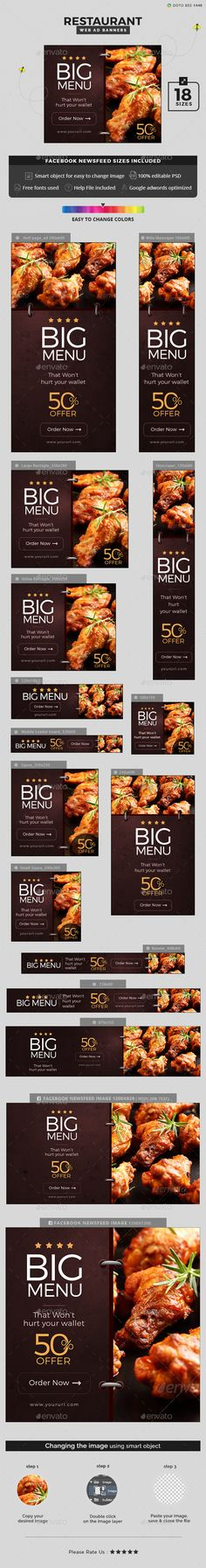Restaurant Banners — Photoshop PSD #banners #Google adwords banner • Available here → https://graphicriver.net/item/restaurant-banners/16360272?ref=pxcr