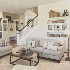 The paint may play its role, but when it comes to a rustic chic living room, the secret is in the details that pull everything together, the rustic farmhouse cherry-picked pieces that pop out in an otherwise plain chic room. Perhaps you can go farther and pick a wall to cover in wooden panels or to hang wood features and interesting casual lighting fixtures. These country living room ideas, are some of the best options you can find, all combined into a rustic chic living room design ex.. Modern Farmhouse Living Room Decor, French Country Living Room, Chic Living Room, Living Room Furniture, Farmhouse Style, Rustic Farmhouse, Modern Living, Living Rooms, Rustic Furniture