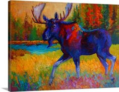 """Trademark Fine Art Marion Rose """"Majestic Moose"""" Canvas Art at Lowe's. This ready to hang, gallery-wrapped art piece features a moose traipsing through the grass along a river. Painting Prints, Wall Art Prints, Canvas Prints, Framed Prints, Thing 1, Art Plastique, Artist Canvas, Contemporary Paintings, Canvas Wall Art"""